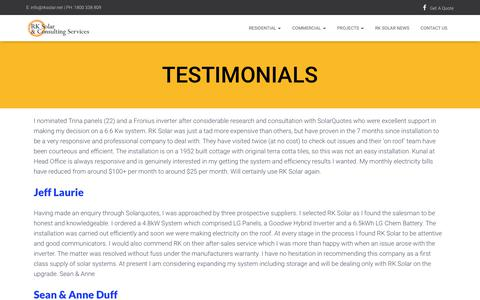 Screenshot of Testimonials Page rksolar.net - Testimonials - RK Solar - captured April 25, 2019