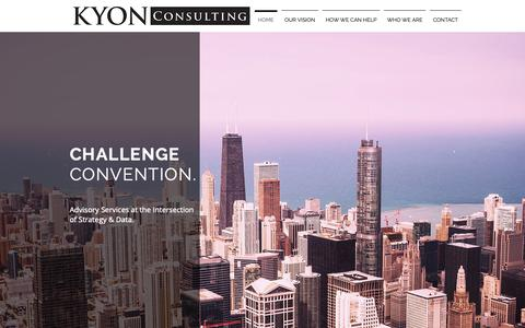 Screenshot of Home Page kyonconsulting.com - Strategy & Data Consulting | Chicago | Kyon Consulting - captured Oct. 16, 2018
