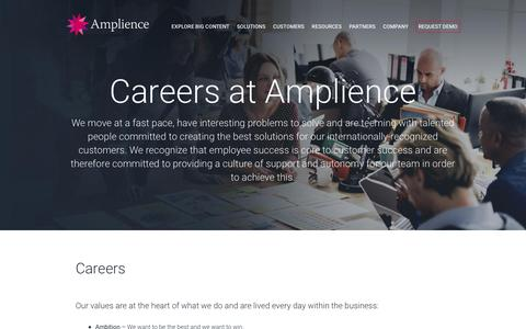 Screenshot of Jobs Page amplience.com - Careers - Amplience - captured July 3, 2016