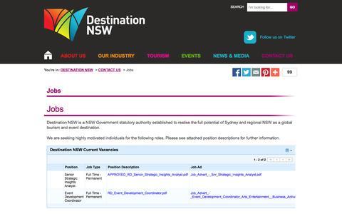 Screenshot of Jobs Page destinationnsw.com.au - Jobs - Destination NSW - captured Sept. 19, 2014