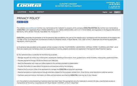 Screenshot of Privacy Page cooltra.com - Rent a Scooter with us privacy-policy cooltra motos - captured Nov. 12, 2016