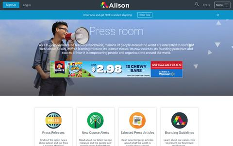 Screenshot of Press Page alison.com - Alison Press Room: Press Releases & Articles, New Courses | Alison - captured Oct. 8, 2017
