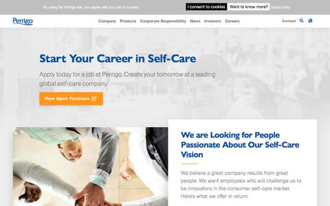 Screenshot of Jobs Page perrigo.com - Start Your Career in Self-Care | corporate - captured Feb. 5, 2020