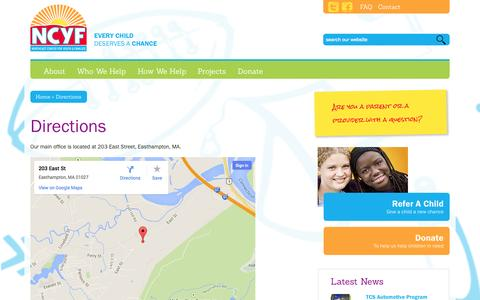 Screenshot of Maps & Directions Page ncyf.org - Directions - Northeast Center for Youth and Families - captured Oct. 26, 2014