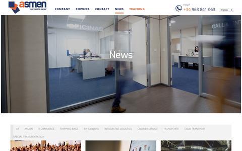 Screenshot of Press Page asmen.es - NEWS - Asmen Mensajeros Transporte Urgente - captured Oct. 9, 2017