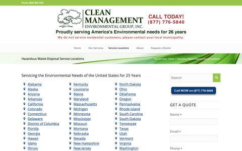 Screenshot of Locations Page cleanmanagement.com - Hazardous Waste Disposal Service Locations | Clean Management Environmental - captured Dec. 6, 2018