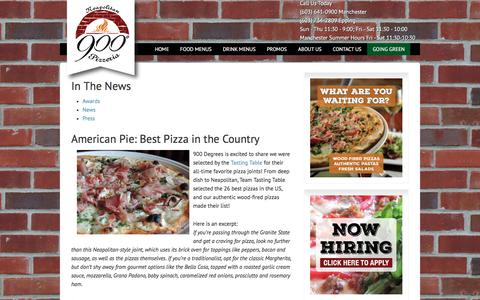 Screenshot of Press Page 900degrees.com - In The News | 900 Degrees - captured June 10, 2017