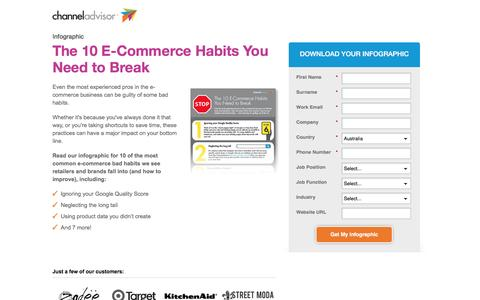 Screenshot of Landing Page channeladvisor.com - The 10 E-Commerce Habits You Need to Break - captured May 18, 2017