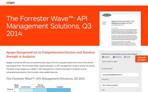 Screenshot of Landing Page apigee.com - The Forrester Wave™: API Management Solutions, Q3 2014 - captured March 15, 2016