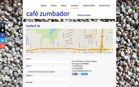 Screenshot of Contact Page zumbadorcoffee.com - Contact - captured April 9, 2016