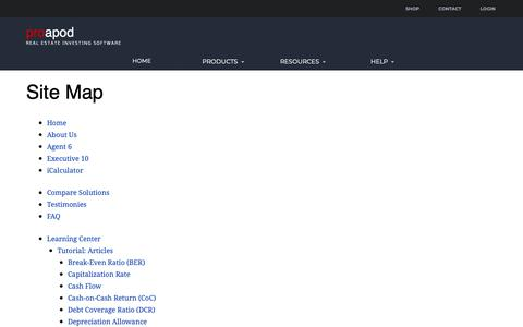 Screenshot of Site Map Page proapod.com - ProAPOD Site Map - captured Sept. 29, 2018