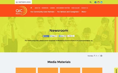 Screenshot of Press Page aic.sg - Newsroom - captured Aug. 24, 2016