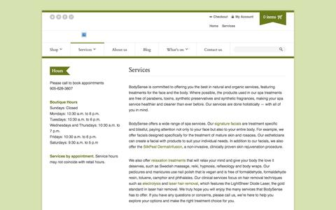 Screenshot of Services Page bodysense.org - Services | Body Sense - captured Sept. 30, 2014