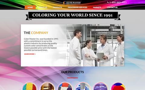 Screenshot of Home Page color-master.com - Master Batch Pigment Manufacturer - Plastic Additive & Masterbatch Colorant Supplier | Color Master Inc. - captured Sept. 28, 2018