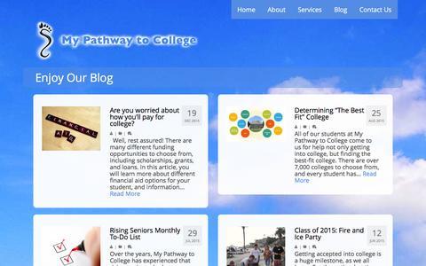 Screenshot of Blog mypathwaytocollege.com - Enjoy Our Blog Đ My Pathway To College - captured Jan. 11, 2016