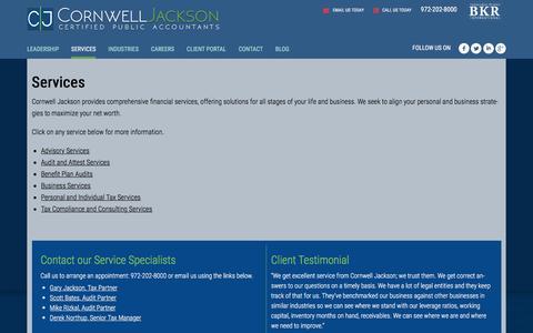 Screenshot of Services Page cornwelljackson.com - Services – Cornwell Jackson - captured Dec. 12, 2015