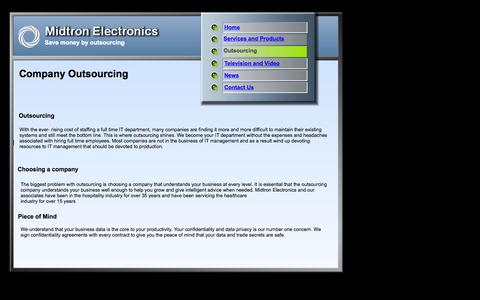 Screenshot of Services Page midtron.com - Services - captured Oct. 27, 2014