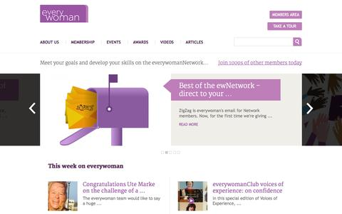 Screenshot of Home Page everywoman.com - Everywoman – the number one network for women in business around the world - captured Sept. 19, 2014
