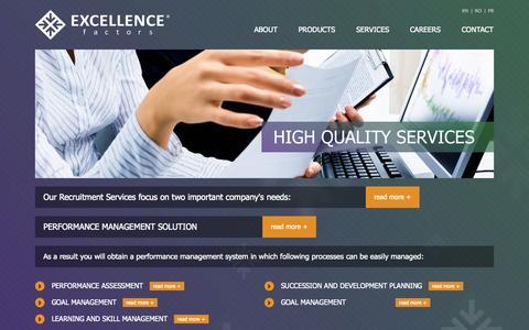 Screenshot of Services Page excellence-factors.com - Excellence Factors - captured Sept. 30, 2014