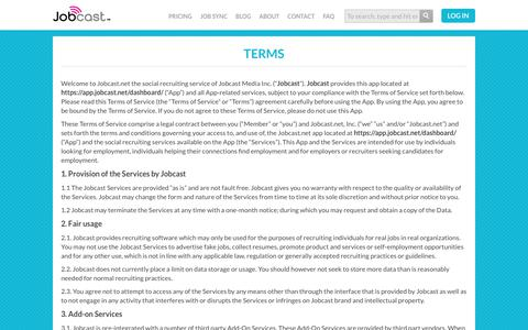 Screenshot of Terms Page jobcast.net - Terms - captured June 2, 2018