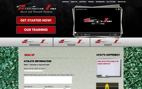 Screenshot of Signup Page accelerationiowa.com - Acceleration Iowa   » Sign Up - captured Oct. 4, 2014