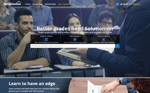 Screenshot of Home Page solutioninn.com - SolutionInn - Online Tutoring | Get Study Help and Textbook Solutions - captured Oct. 9, 2018