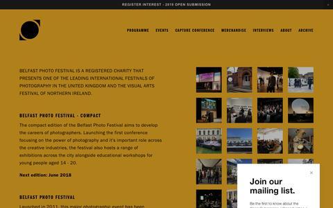 Screenshot of About Page belfastphotofestival.com - Organisation — Belfast Photo Festival - captured Aug. 1, 2018