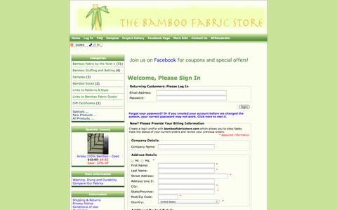Screenshot of Login Page bamboofabricstore.com - Bamboo Fabric Store - captured Oct. 29, 2014