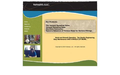 Screenshot of Products Page vanasyl.com - sampling, Vanasyl LLC. Products - captured Oct. 9, 2014
