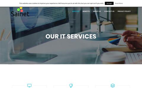 Screenshot of Services Page sainet.com.au - Sainet | Managed Information Technology Services | Melbourne - captured Oct. 1, 2018