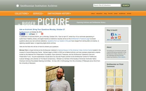 Screenshot of Blog si.edu - The Bigger Picture | Smithsonian Institution Archives - captured Oct. 26, 2014