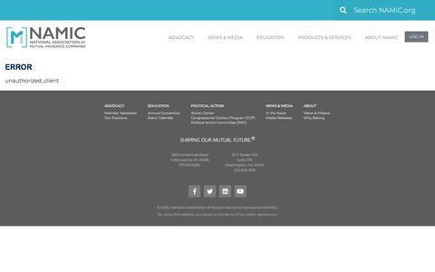 Screenshot of Login Page namic.org - Error - Namic - captured Jan. 16, 2020