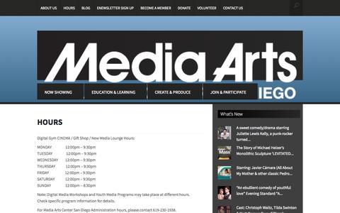Screenshot of Hours Page mediaartscenter.org - HOURS | Media Arts Center San Diego - captured Oct. 4, 2014