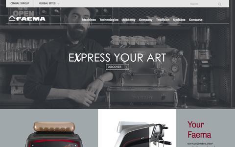 Screenshot of Home Page faema.com - Faema: commercial coffee machines - captured Feb. 2, 2016