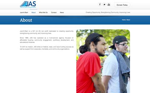 Screenshot of About Page justastart.org - About | Just-A-Start - captured Sept. 30, 2014