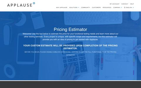 Screenshot of Pricing Page applause.com - Pricing Estimator | Applause - captured July 25, 2017