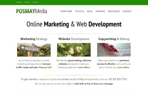 Screenshot of Home Page Services Page posmaymedia.com - Welcome - Posmay Media - captured Sept. 30, 2014