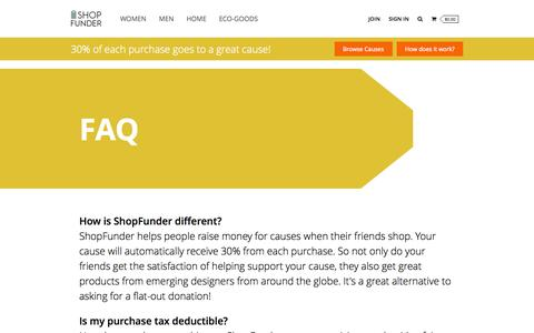 Screenshot of FAQ Page shopfunder.com - FAQ - Shop #ForGoodnessSake at ShopFunder.com - Buy Top Designer Jewelry, Clothing, Gifts, and Accessories. - captured Sept. 30, 2014