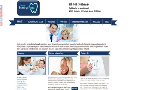 Screenshot of Services Page mykeenedental.com - Cosmetic Dentistry | Keene Family Dentistry | Keene TX 76059 - captured Feb. 12, 2016