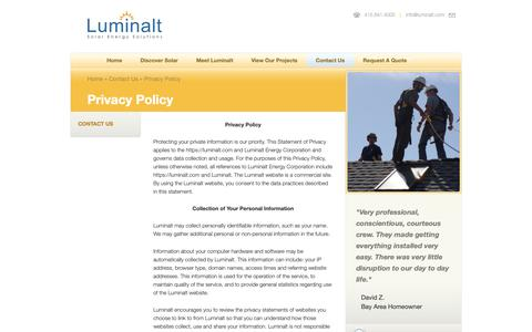Screenshot of Privacy Page luminalt.com - Privacy Policy - Luminalt - Solar Energy SolutionsLuminalt – Solar Energy Solutions - captured Nov. 5, 2018