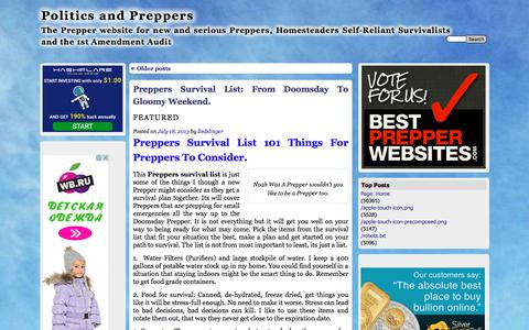 Screenshot of Home Page politicsandpreppers.com - Politics and Preppers | The Prepper website for new and serious Preppers, Homesteaders Self-Reliant Survivalists and the 1st Amendment Audit - captured Feb. 15, 2018