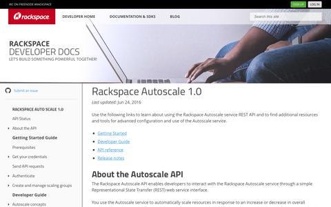 Screenshot of Developers Page rackspace.com - Rackspace Autoscale 1.0 - Rackspace Developer Portal - captured Feb. 26, 2019