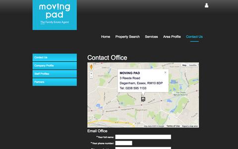 Screenshot of Contact Page movingpad.com - Moving Pad Estate Agents in Barking and Dagenham - Property For Sale and Rent - captured Oct. 7, 2014