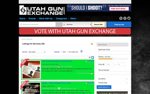 Screenshot of Services Page utahgunexchange.com - Services Archives - Utah Gun Exchange - captured Sept. 25, 2018