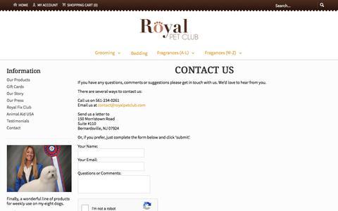 Screenshot of Contact Page royalpetclub.com - Contact Us - captured Sept. 21, 2018