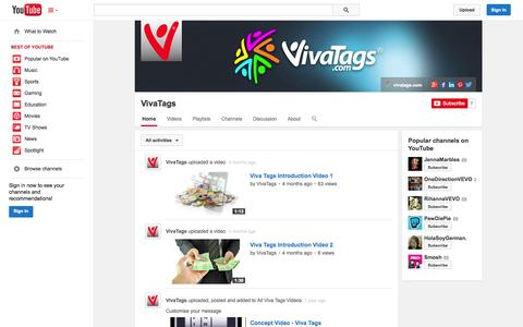 Screenshot of YouTube Page youtube.com - VivaTags  - YouTube - captured Oct. 26, 2014