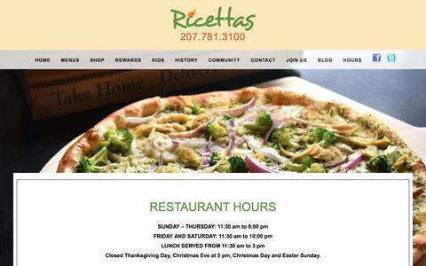 Screenshot of Hours Page ricettas.com - RESTAURANT HOURS - Ricettas - captured Oct. 22, 2017