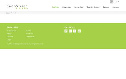 Screenshot of Products Page nanostring.com - NanoString Technologies, Inc. :: Products - captured May 9, 2017
