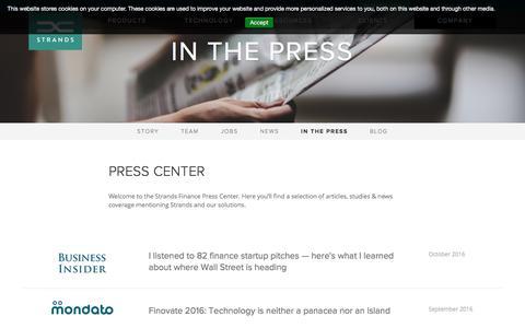 Screenshot of strands.com - Strands Finance news and coverage in the Press & Media - captured April 7, 2017