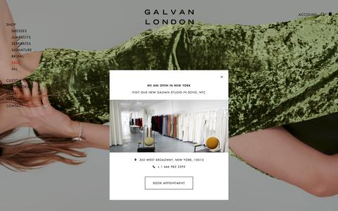 Screenshot of Home Page galvanlondon.com - Galvan London I Luxury, modern evening wear and bridal collections - captured July 16, 2018